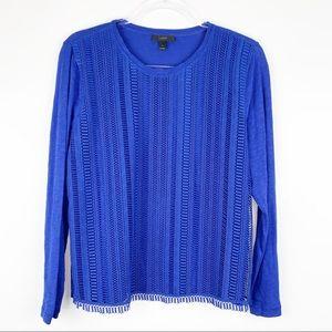 J. Crew Lace Front Long Sleeve T-Shirt Large Blue